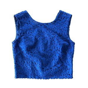 J.Crew Collection Cobalt Blue Lace Crop Top 2